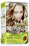 Garnier Nutrisse Creme Coloration 8N für permanente Haarfarbe mit 3 nährenden Ölen, 3er Pack