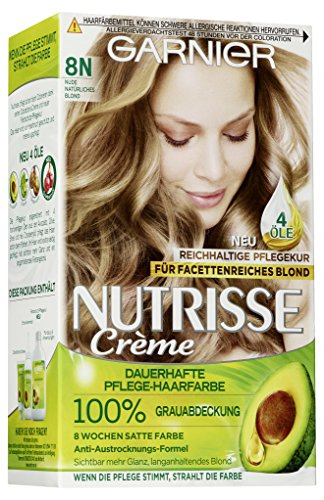 Garnier Haarfarbe (Garnier Nutrisse Creme Coloration Nude Natürliches Blond 8N / Färbung für Haare für permanente Haarfarbe (mit 3 nährenden Ölen) - 3 x 1 Stück)