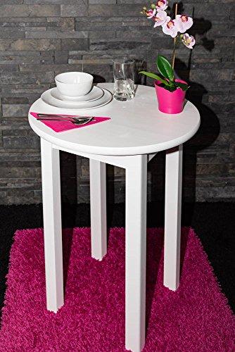 Tisch Kiefer massiv Vollholz weiß Junco 234A (rund) - Ø 60 cm