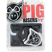Elevadores Pig Piles para monopatín, rígidos, negros de 12,7mm