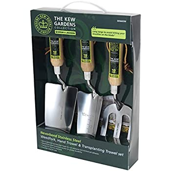 3 Piece Gardening Tool Set Stainless Steel with FSC Certified Wooden Handles Love My Garden Chef Rake and Trowel Transplanter