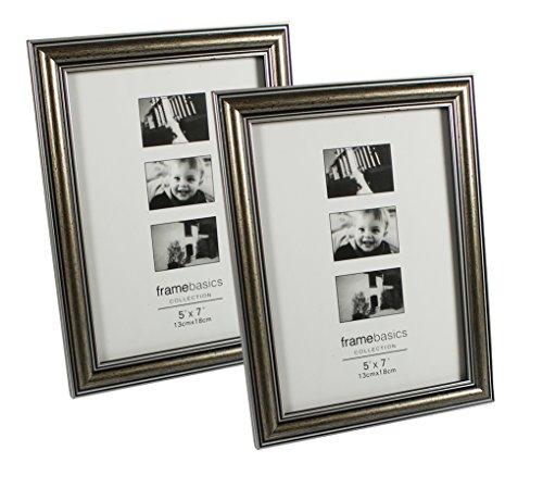 Wand Bilderrahmen 5x7 (COM-FOUR® Bilderrahmen Fotorahmen - Stilvoller Rahmen für Ihre Lieblingsbilder (2er Set Antik 13x18))
