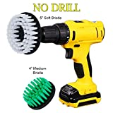 OxoxO 4inch 5inch Drill Brush Medium Stiffness Soft Bristle Scrub Attachments Cleaning Kit for Grout Carpet Tires Boats Kitchen Bathroom Shower Tile Upholstery
