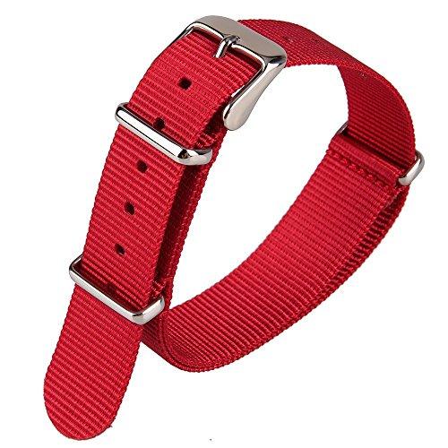 Rot Nylon Stoff Leinwand Armbanduhr Band Woven Nylon Uhrenarmband Army Military Armband 18 mm Breite - Rote Canvas-drucke