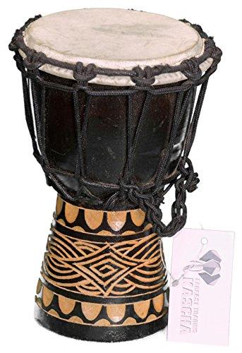 Kascha - 20cm Kinder Djembe Trommel Bongo Drum Buschtrommel Afrika-Style handgeschnitzt aus Mahagoni Holz Design 2