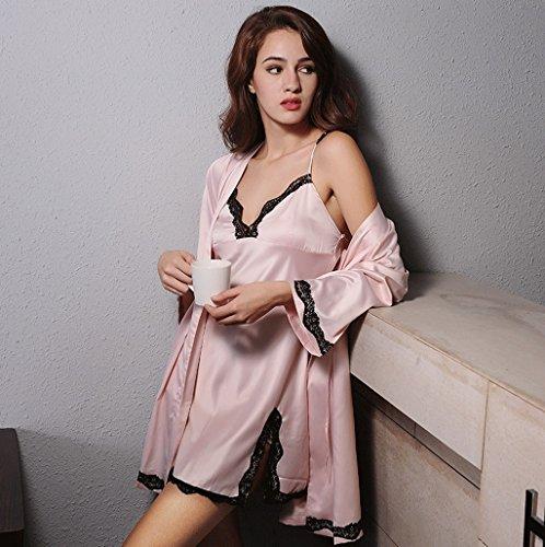 Camicia da notte di sling di estate due insiemi di vestito domestico sexy del pizzo della sezione sottile ( Colore : Rosa , dimensioni : L. ) Rosa