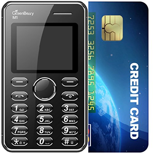 GreenBerry M1 1.77 Inch QQVGA Color Display Keypad Ultra Slim Ultra Slim Credit Card Size Light Weight Light Weight MP3 Player -Camera Mobile Phone (Black) (Only Mobile Phone & Charging Cable In Box, NO CHARGER OR EARPHONE)