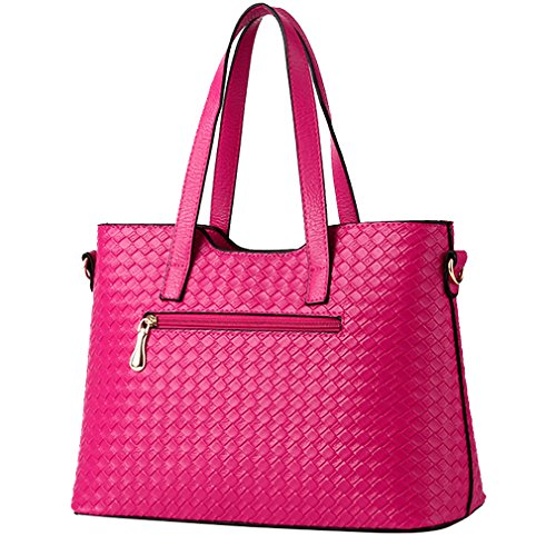 MissFox Fashion Da Donna Retro Handbag Shoulder Bag Tote Bag 3 Pezzi Rose