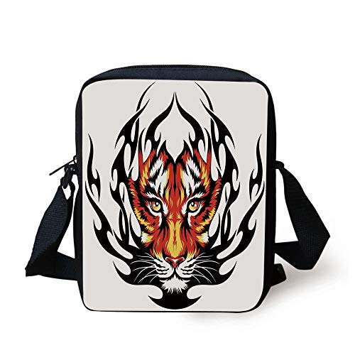 LULABE Tattoo Decor,Jungles Prince Tigers Head in Black Flames Frame Looking with Cat Eyes,Black and Orange Print Kids Crossbody Messenger Bag Purse