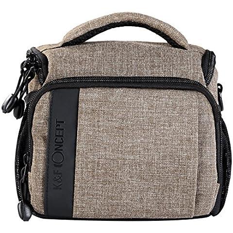 K&F Concept - Funda para Cámara Reflex para Cámara sin Espejo / DSLR + Una Lente + Accesorios Pequeños, Bolsa para Cámara para Canon Nikon Sony Cámaras , Color Caqui + Funda de