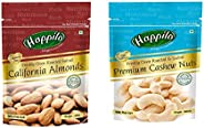 HappiloPremium Californian Roasted and Salted Almonds, 200g & Premium Toasted and Salted Cashews, 200g C
