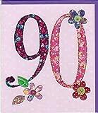 Pigment Productions Originelle Grusskarte zum 90. Geburtstag - veredelt durch Prägung und Glitter mit farbigem Umschlag im Format 16x18cm ohne Innendruck ZB737