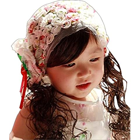Drasawee Bambina Lovely Bangs fascia floreale rosa pizzo fascia per capelli fotografia Prop