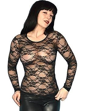 GOTHIK GÓTICA camiseta negra de ENCAJE* Top * Talla S * top
