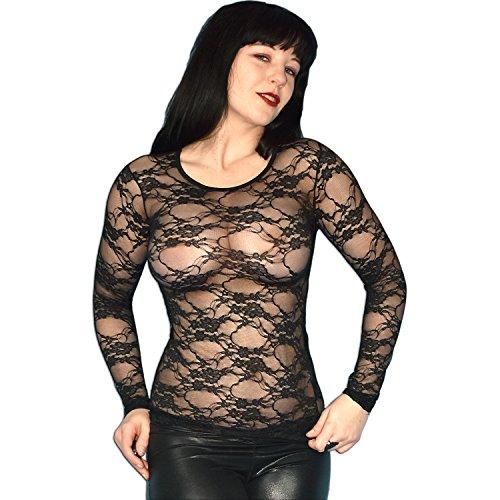 Gothic schwarzes Spitzenshirt transparent und stretchig