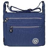 EGOGO donne borse a spalla borsa a tracolla muliti tasche borsetta E303-5 (Blu Scuro)