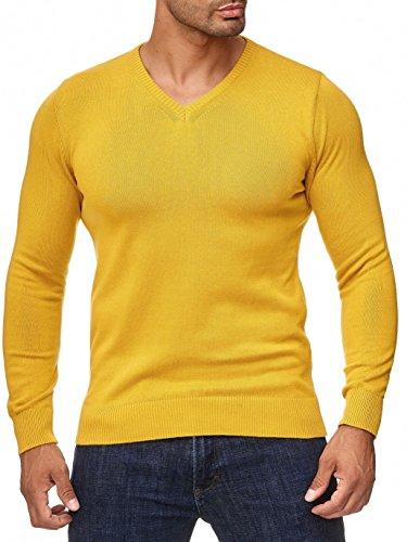 MOKIES Herren Pullover - V-Ausschnitt - Modern-Fit - Hochwertige Baumwollmischung - Feinstrick-Pullover - Gelb M