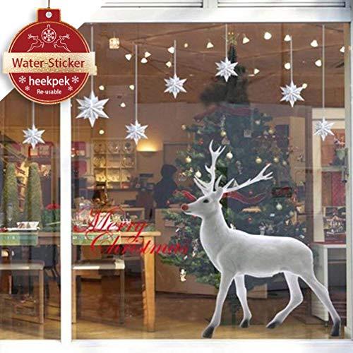 heekpek Weihnachten Deko Wandaufkleber Schlafzimmer Wohnzimmer Fensterbilder Sticker Wandtattoo Wanddeko Weihnachtsdeko, Weihnachten Removable Vinyl Fensterbilder Weihnachtssticker