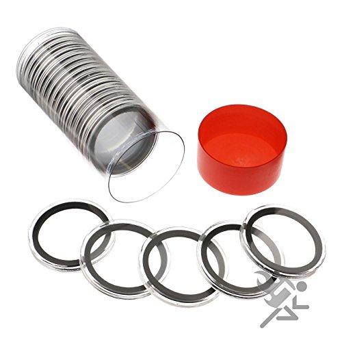 20 Dollar Silber (Rote Kapsel Rohr und 20 Air-Tite Schwarzer Ring 40mm Air-Tite Münzenhalter Kapseln für Silber Eagles von Air-Tite)