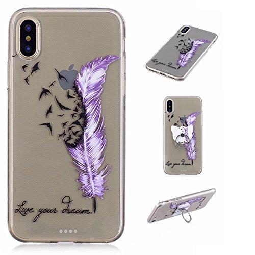 Hülle für Apple iPhone X , IJIA Transparent Bunt Schmetterling TPU Weich Silikon Stoßkasten Cover Handyhülle Schutzhülle Handytasche mit 360 Grad Drehung Finger Ring Case Tasche für Apple iPhone X (5. FD64