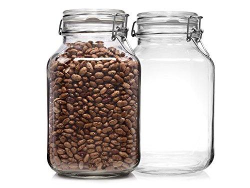 Bormioli Fido Gläser mit Bügelverschluss 2 teilig | Füllmenge 3 L | Luftdichte Konservierung durch den Gummiring sowie den Drahtbügelverschluss (Aus Glas)
