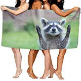 xcvgcxcvasda Raccoon Toallas de Playa de Microfibra Ultra Absorbente Toalla de baño Picnic Mat para Hombres