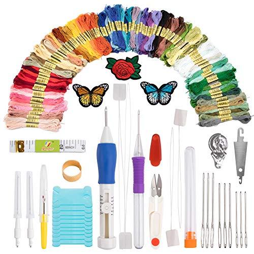 BCMRUN Stickereistift, Stanznadel, Stickerei/Muster, Garn und Schere, Geschenkset, Sticknadeln, Starter-Set, Bastelwerkzeug, inklusive 100 Farben Knäuel, Stickgarn zum Nähen, Stricken (Punch-stickerei-starter-kit)