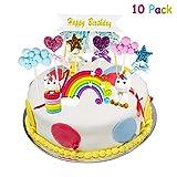 Yojoloin 10pcs Cloud Rainbow,Unicorn Cake Toppers Kit Decorazione Torta per la Festa della Baby Shower di Compleanno della Ragazza del Ragazzo.