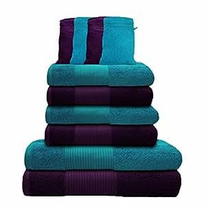 Liness 10 tlg Handtuch-Set 4 Handtücher 50x100 cm 2 Duschtücher Badetücher 70x140 cm 4 Waschhandschuhe 16x21 cm 100% Baumwolle violett-lila türkis-petrol