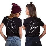 JWBBU Best Friends T-Shirt Guter Freund Herz T-Shirt mit Aufdruck für Zwei Damen Mädchen Sommer Weiß Schwarz Oberteil Geburtstagsgeschenk Jahrestagsgeschenk 2 Stücke (BE-M+ST-M, Schwarz)
