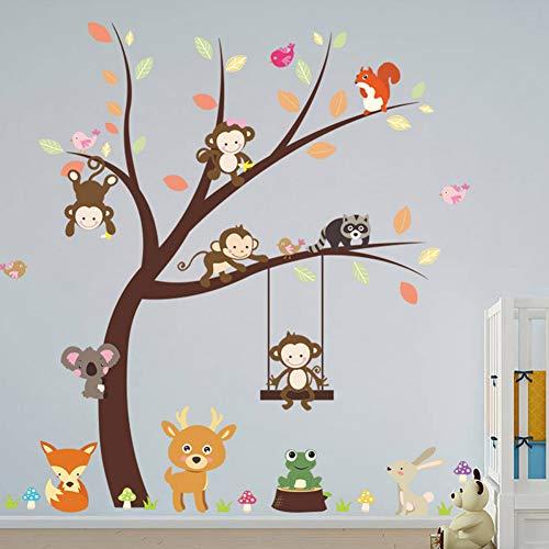 Wald Affe Vogel Kaninchen Wandaufkleber Kind Raumdekoration Hause PVC Cartoon Dschungel Tier Dekoration Wandbild DIY Applique