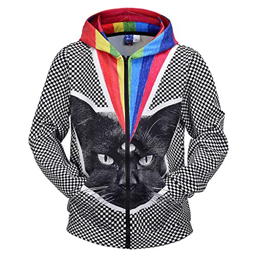 Heißes Thema Paar Kostüm - kksun Regenbogen Katze Frühling Herbst Hoodie 3D gedruckt Sweatshirt mit Taschen für Paar Liebhaber lustige Bluse Plus Größe für den Winter,Grey-M