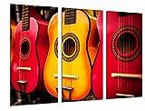 Tableau Moderne Photographique, Impression sur bois, Guitares espagnoles aux couleurs orange, Flamenco, 97 x 62 cm, ref. 26745