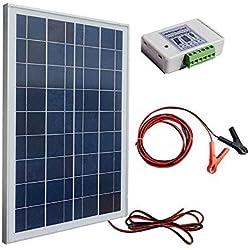 Eco-Worthy 12V 25W Kits: 1pièce 25W polycristallin PV Panel Module avec 3fils + 30A batterie Clips avec 6pieds câble d'extension + 3A 12V/24V solaire contrôleur