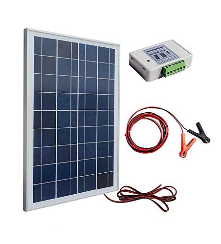 Package included:  1pc 25watt poly solar panel with 3 feet wire. 1pc 3A 12V/24V solar charge controller. 30A battery clips with 6 feet extension cable.  25W 12V ECO-WORTHY solar charging kit with 25W solar panel, advanced 3A PWM charge controller and...