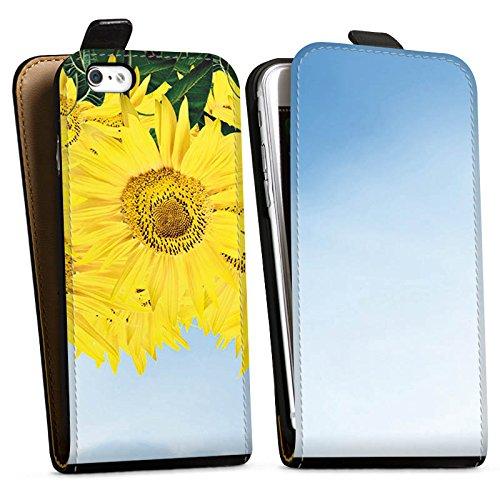 Apple iPhone X Silikon Hülle Case Schutzhülle Sonnenblumen Himmel Sonne Downflip Tasche schwarz