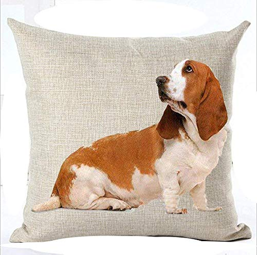 Dog Kostüm Pet Hound - MJDIY Family Cute Lovely Tummy Sitting Basset Hound Big Ear Pet Dog Cotton Linen Throw Pillow Case Cushion Cover Home Sofa Balcony Decorative 18 x 18 Inch/45 x 45 cm