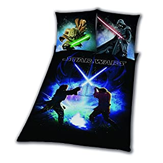 Bettwäsche glatt Star Wars 8 Schwertkampf Rey Finn Tico Yoda 135 x 200 NEU WOW - All-In-One-Outlet-24 -