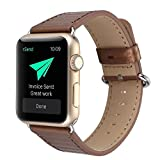 #2: J Fashion Luxurious Classy Vintage Carbon Fibre Ajustable Replacement Bracelet Strap for Apple Watch iWatch Series 1 Series 2 (42MM) Brown ( Watch Not Included )