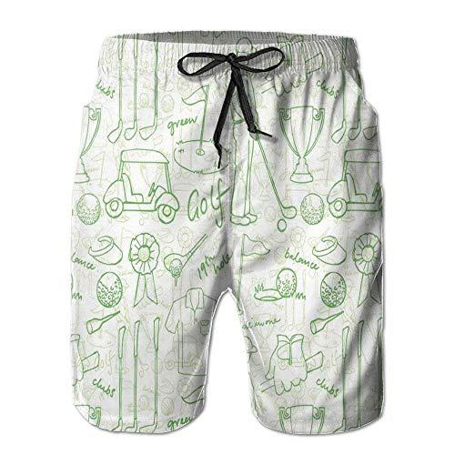 Fashion Men's Beach Pants Men's Beach Shorts Swim Trunks Golf Pattern Board Shorts with Pockets,M (Boys Golf Oakley)