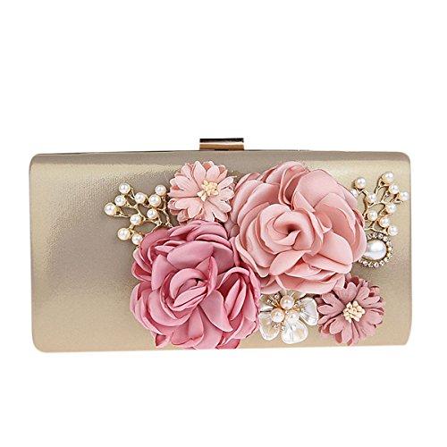 KELAND Frauen Satin Blume Abend Handtasche Clutch Perle Perlen (Gold) - Perlen Clutch Tasche
