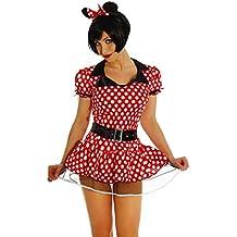 Your Design ERZ de Minnie Mouse Disfraz de mujer rojo/blanco