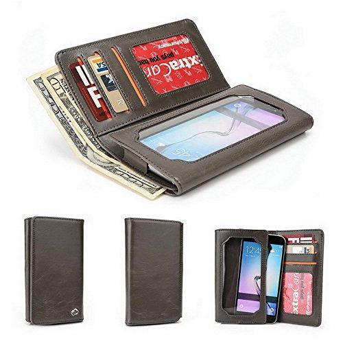 Kroo Portefeuille unisexe avec Huawei Ascend P1LTE ajustement universel différentes couleurs disponibles avec affichage écran Gris - gris Gris - gris