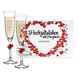 Casa Vivente Hochzeits-Set – Hochzeitslaken – Sektgläser mit roten Herzen und Gravur – Ringe – Personalisiert mit [Namen] und [Datum]