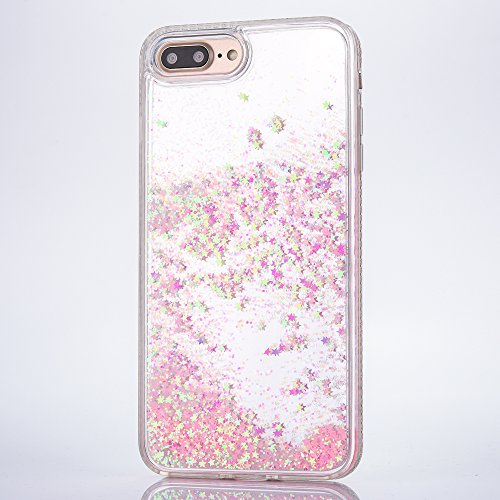 iPhone 7 Plus Hülle, Voguecase Flüssig Diamant Schwimmend Treibsand Glitzer Bling Silikon Schutzhülle / Case / Cover / Hülle / TPU + PC Gel Skin für Apple iPhone 7 Plus/iPhone 8 Plus 5.5(Star/Blau) +  Star/Pink