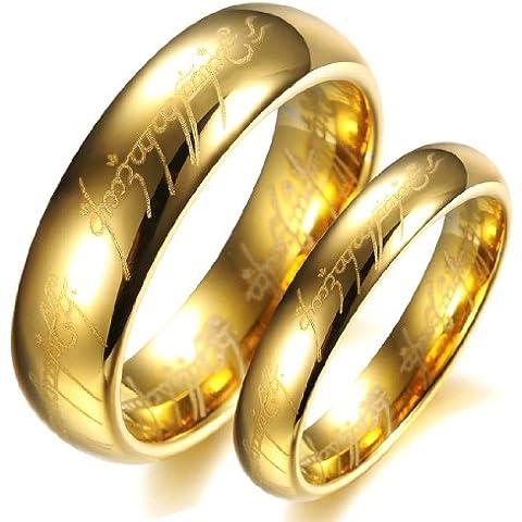 Dreamslink placcato oro 18 k, motivo: il Signore degli anelli, in carburo di tungsteno con Bible Engaved-Anello a fascia da matrimonio, coppia