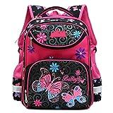 AnKoee Süß Daypack Kinder Rucksack Schul Mädchen Schultasche des Sekundarschule-Mädchens Schultasche Grundschule Tasche (Schwarz/Rot/Schmetterling)