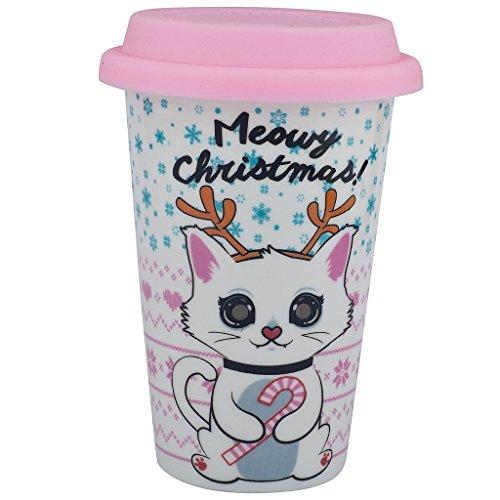 (Lux Zubehör Meowy Weihnachten Kitty Katze Happy Holidays Sippy Hot Kaffee Drink Kalt 8oz Tasse Xmas Candy Cane Weihnachtsstrumpf)