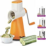 [Sponsored Products]Ankur Vegetable Grater Mandoline Slicer, Rotary Drum Fruit Cutter Cheese Shredder With 3 Stainless Steel Rotary Blades And Suction Cup Feet (Orange)