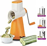 #7: Ankur Vegetable Grater Mandoline Slicer, Rotary Drum Fruit Cutter Cheese Shredder with 3 Stainless Steel Rotary Blades and Suction Cup Feet (Orange)